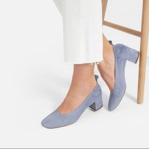 Everlane The Day Heels in Blue Suede 10.5